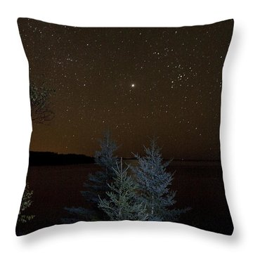 Jupiter  Over Otter Point 2 Throw Pillow by Brent L Ander
