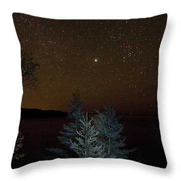 Jupiter  Over Otter Point 3 Throw Pillow by Brent L Ander