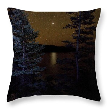 Jupiter Rising Over Otter Point Throw Pillow by Brent L Ander