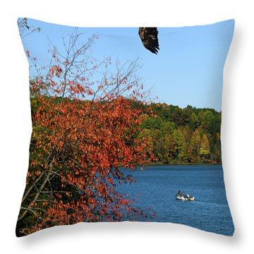 Throw Pillow featuring the photograph Juvenile And Fishermen by Randall Branham