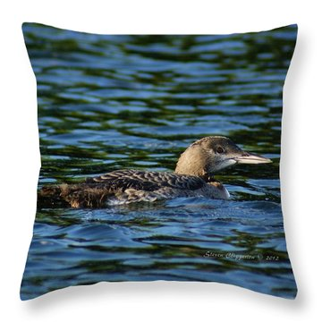 Juvenile Loon Throw Pillow by Steven Clipperton