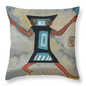 K Is For Kachina Detail From Childhood Quilt Painting Throw Pillow by Dawn Senior-Trask