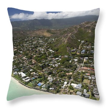 Kailua Aerial Throw Pillow by Peter French
