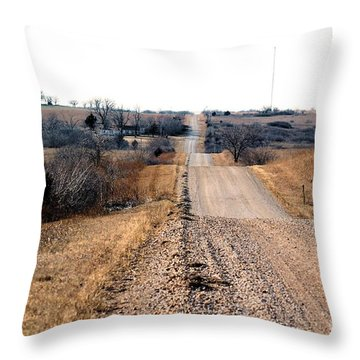 Kansas Gravel Road Throw Pillow