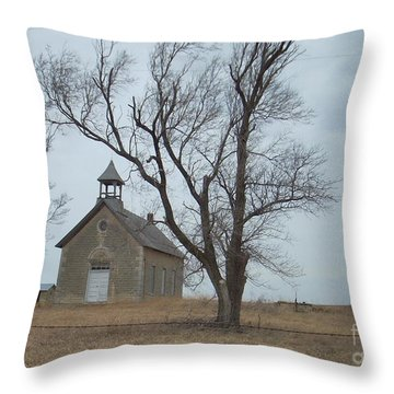 Kansas Stone Church Throw Pillow