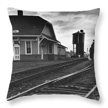 Kansas Train Station Throw Pillow by Myron Wood and Photo Researchers