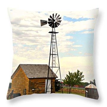 Kansas Windmill 1 Throw Pillow by Marty Koch
