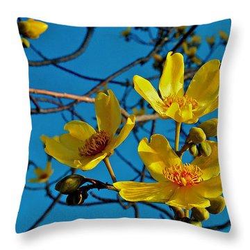 Kapok Flower Throw Pillow by Jocelyn Kahawai