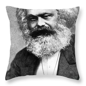 Karl Marx Throw Pillow by Unknown