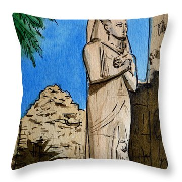 Karnak Temple Egypt Throw Pillow by Irina Sztukowski