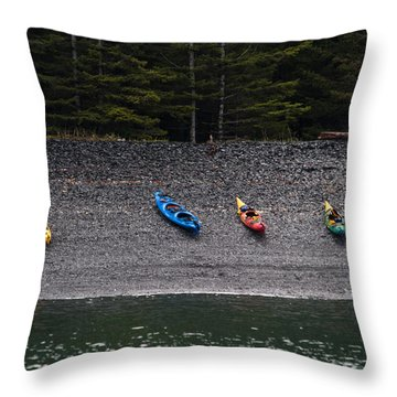 Kayak Shore Throw Pillow
