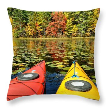 Throw Pillow featuring the photograph Kayaks In The Fall by Rick Frost