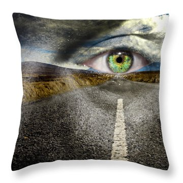 Keep Your Eyes On The Road Throw Pillow by Semmick Photo