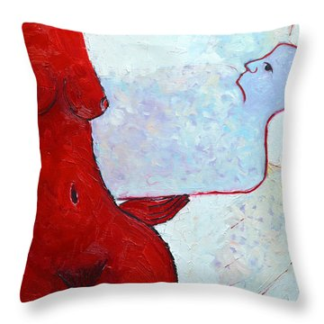 Keeping Her Guardian Angel In Her Hand Throw Pillow by Ana Maria Edulescu