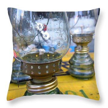 Kerosene Lamps Throw Pillow by Yali Shi