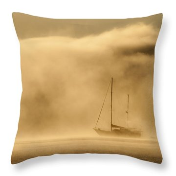 Ketch In Mist Throw Pillow by Avalon Fine Art Photography