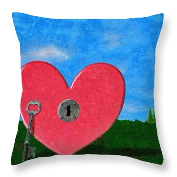 Key To My Heart Throw Pillow by Jeffrey Kolker