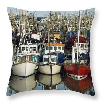 Kilkeel, Co Down, Ireland Rows Of Boats Throw Pillow by The Irish Image Collection