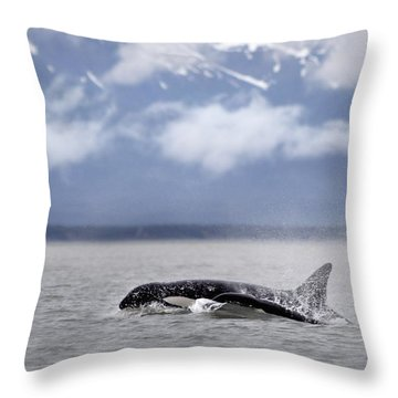 Killer Whales, Alaska Throw Pillow by Richard Wear