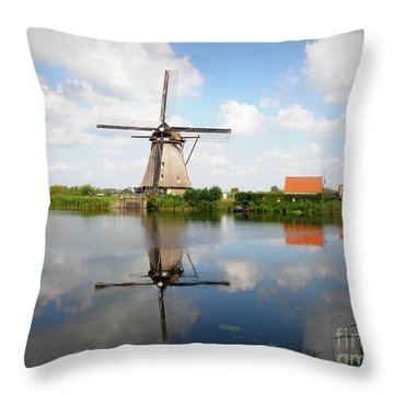 Kinderdijk Windmill Throw Pillow by Lainie Wrightson