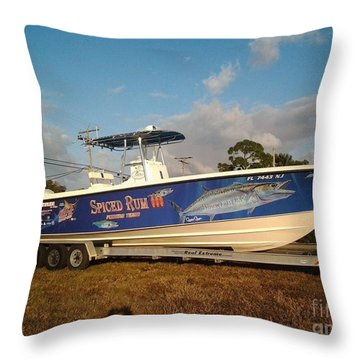 Kingfish Boat Wrap Throw Pillow by Carey Chen