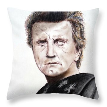 Kirk Douglas In The Vikings Throw Pillow by Jim Fitzpatrick