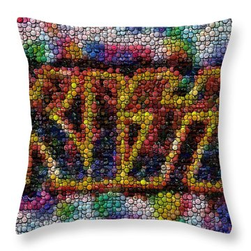 Kiss Bottle Cap Mosaic Throw Pillow by Paul Van Scott