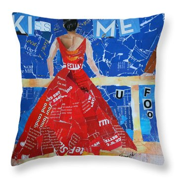 Kiss Me Throw Pillow by Lynn Chatman