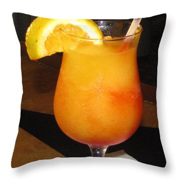 Kiss On The Lips Drink Throw Pillow by Denise Keegan Frawley