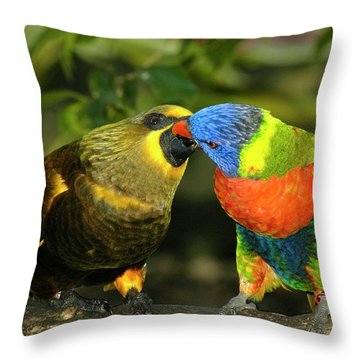 Kissing Birds Throw Pillow by Carolyn Marshall
