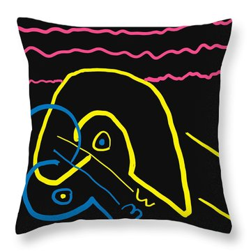 Kissing On The Beach Throw Pillow by Alec Drake