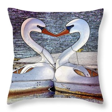 Throw Pillow featuring the photograph Kissing Swans by Alice Gipson