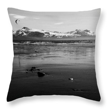 Kite Surfer On An Alaskan Beach Throw Pillow