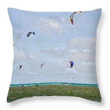 Kites Over The Bay Throw Pillow by David Lee Thompson
