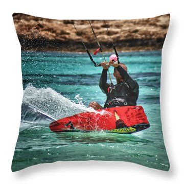 Kitesurfer Throw Pillow by Stelios Kleanthous
