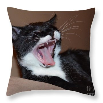 Kitten Yawns Throw Pillow