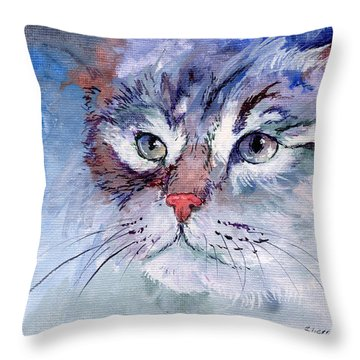 Kitty In Blue Throw Pillow by Sherry Shipley