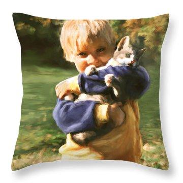 Kitty Love Throw Pillow by Barbara Hymer