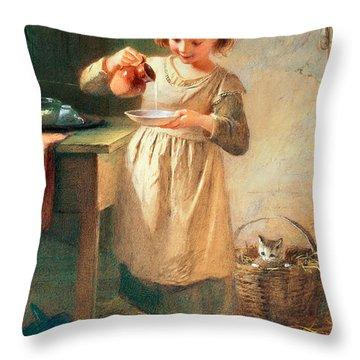 Kitty's Breakfast Throw Pillow by Farmer Emily