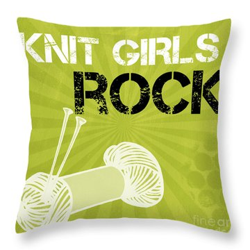 Knit Girls Rock Throw Pillow by Linda Woods