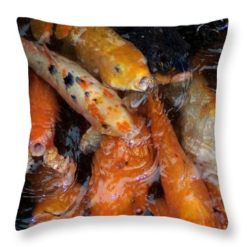 Koi In Pond Throw Pillow by Peter Mooyman
