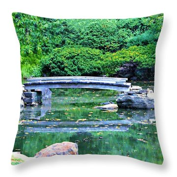 Koi Pond Pondering - Japanese Garden Throw Pillow by Bill Cannon