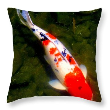 Koi Story One B Throw Pillow by Randall Weidner