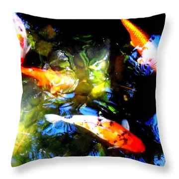Koi Story Three A Throw Pillow by Randall Weidner