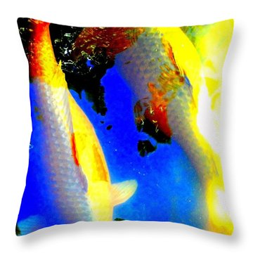 Koi Story Two A Throw Pillow by Randall Weidner