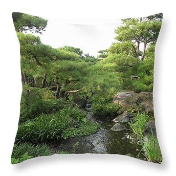 Kokoen Samurai Gardens - Himeji City Japan Throw Pillow by Daniel Hagerman