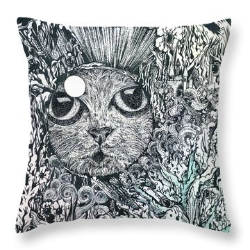 Cat In A Fish Bowl Throw Pillow