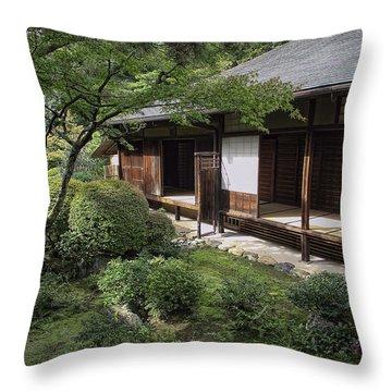 Koto-in Zen Tea House And Garden - Kyoto Japan Throw Pillow by Daniel Hagerman