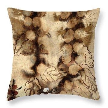 Kotsim Thorny Desert Plants In Brown Flowers Leaves Monochrome White   Throw Pillow
