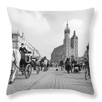 Krakow Carriages Throw Pillow by Robert Lacy